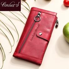 Kontakts 100% Echtem Leder Brieftasche Frauen Luxus haspe Geldbörse Rfid Karte Halter brieftaschen für frauen handtasche Cartera mujer