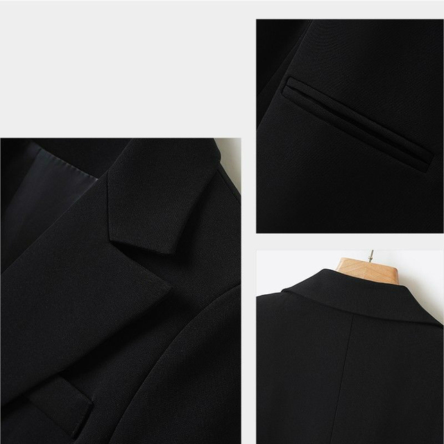 Spring Autumn Fashion Women Black Blazer Long Sleeve Pocket Double Breasted Office Ladies Business Coat Female Retro Suits 5