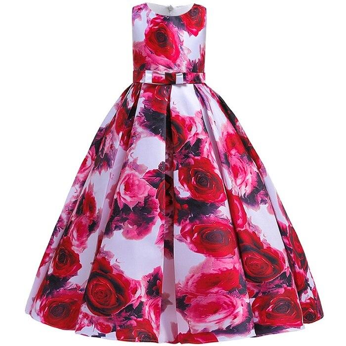 Пышные платья для девочек; платье для первого причастия; детское платье для свадебной вечеринки; платье для дня рождения; кружевные вечерние платья с лепестками для девочек; длинное платье для торжеств - Цвет: red