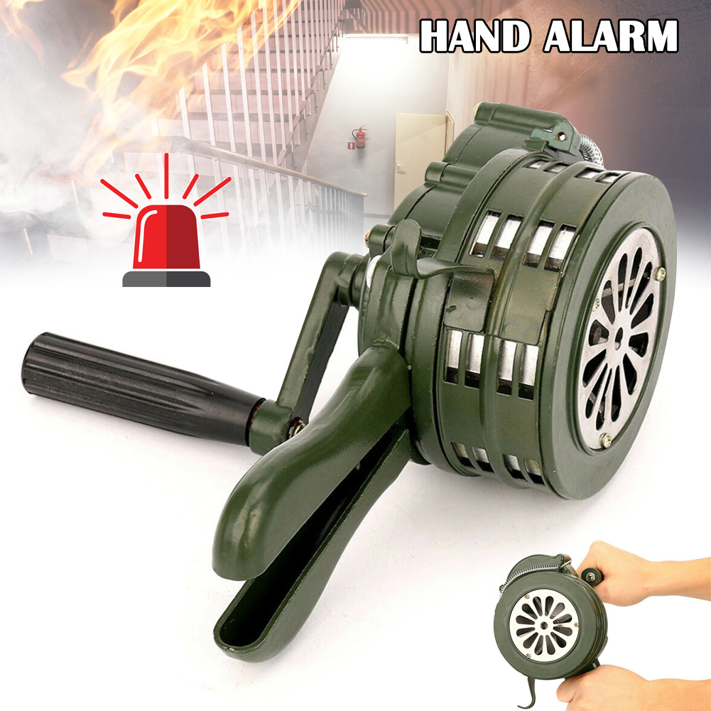 Hand Crank Siren Horn 110dB Manual Operated Metal Alarm Air Raid Emergency Safety DJA99