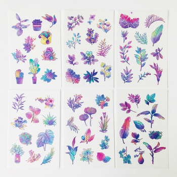 6 Sheets/Pack Gradient Purple Leaf Leaves Paper Decorative Stickers Album Diary Decor - discount item  18% OFF Stationery Sticker