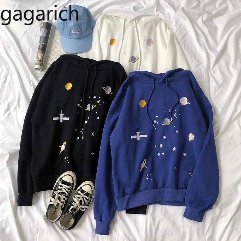 Gagarich Women Harajuku Hoodies Cartoon Mars Star Embroidery Thick Long Sleeve Chic Female Casual Sweatshirts 2019
