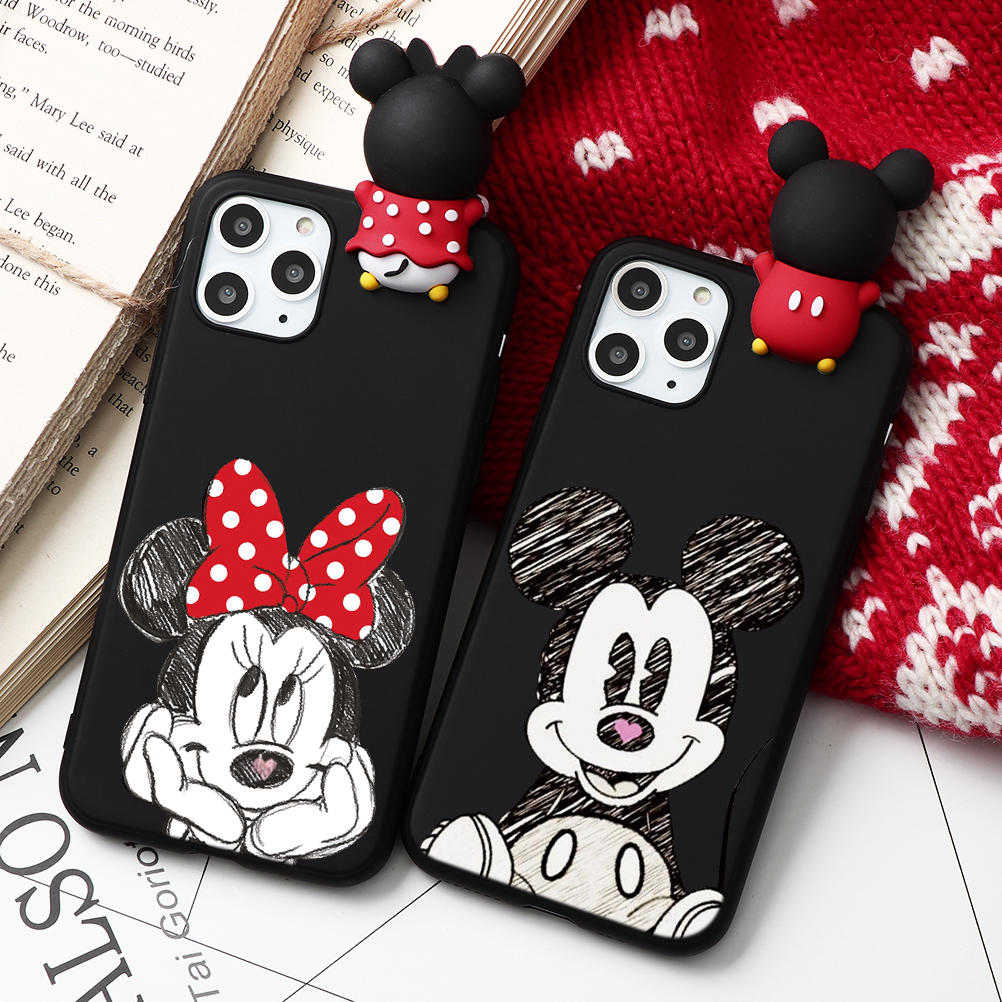 H59837f9374f4422f8d43bb06db83f0b61 - Cartoon Couple Fashion Case For iPhone XR 11 Pro XS Max X 5 5S Silicone Matte Cover For iphone 7 8 6 S 6S Plus 7Plus Case Girls