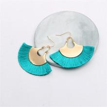 CRLEY 17 Colors Tassel Earrings Bohemian Creative Sector Shape ewelry Pendientes oorbellen Hyperbole Female Drop Brincos