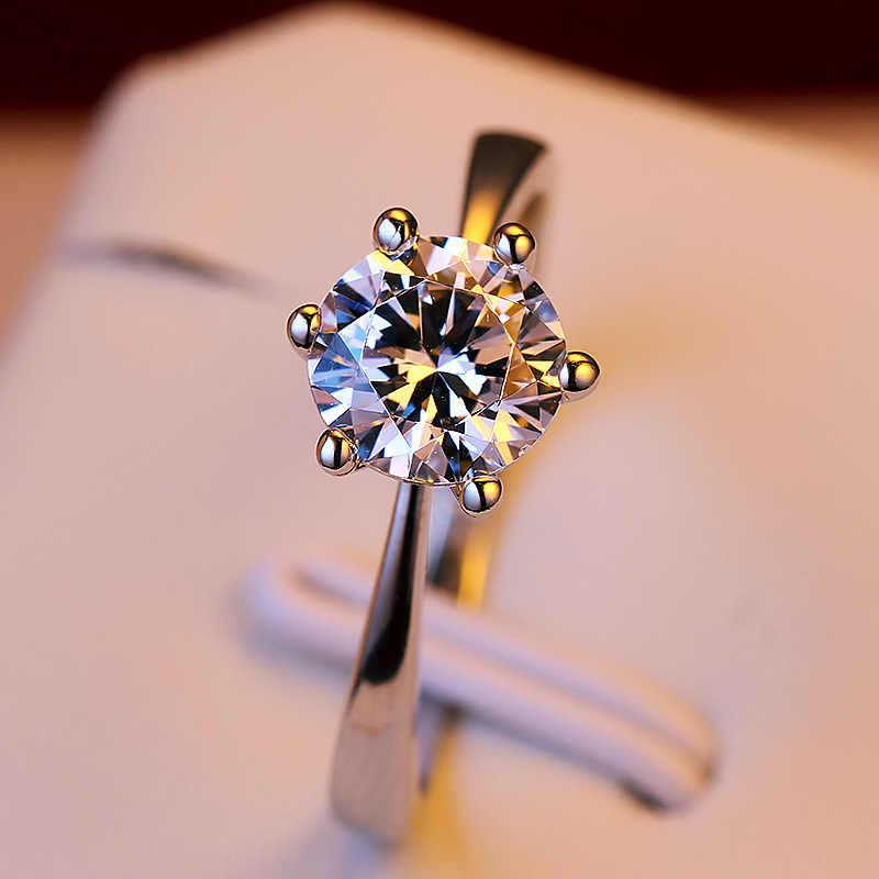 90% オフ高級女性の小さなラボダイヤモンドリングリアル 925 スターリングシルバー婚約指輪ソリティアの結婚指輪