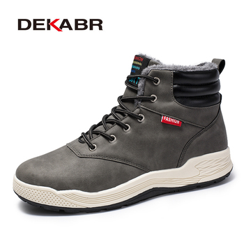 DEKABR Autumn Winter Men Snow Boots Fashion Style Casual Men Boots Lace Up Warm Plush Ankle Boots Men Winter Working Shoes