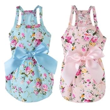 Fashion Prited Summer Dress For Dog Cotton Wedding Clothes For Dog Girls Small Medium Dog Cute Puppy Princess Skirt Size XS-XL