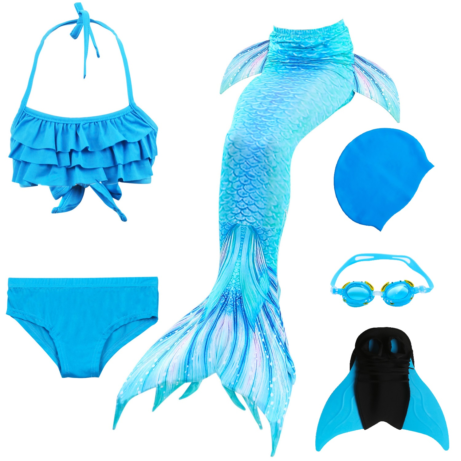 Image 5 - Kids Mermaid Swimsuit Bikini Girls Mermaid Tail with Finned Swimsuit Child's Wear Split Swimsuit Mermaid Tail Clothing Swimwear-in Girls Costumes from Novelty & Special Use