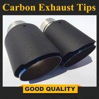 2 pces: 63mm entrada 89mm saída azul aço inoxidável ponta de escape do carro de fibra carbono silenciador do escape dicas para todos os carros