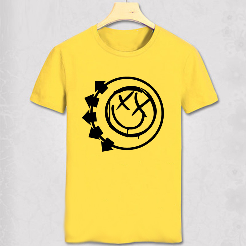 <font><b>Blink</b></font> <font><b>182</b></font> Smiley Face Punk Rock Roll T <font><b>Shirts</b></font> Pop Music T-<font><b>shirt</b></font> Man cotton casual tshirt image