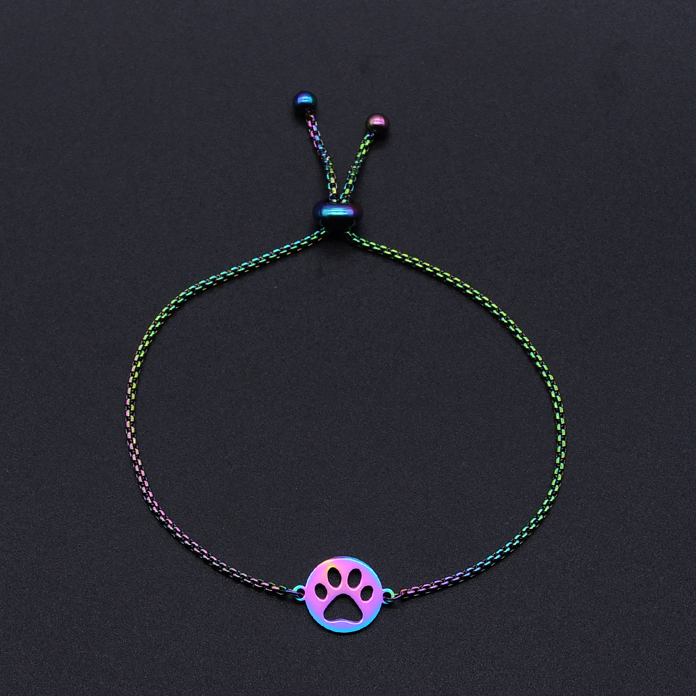 316L Stainless Steel Rainbow Colorful <font><b>Dog</b></font> <font><b>Paw</b></font> Charm <font><b>Bracelets</b></font> for Women Dainty Steel <font><b>Bracelets</b></font> Wholesale Dropshipping image