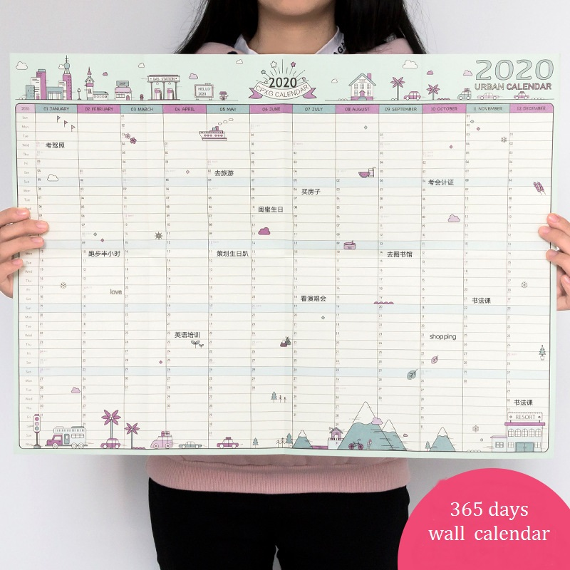 Large New 2020 365days Daily Planner Paper Wall Calendar, Study School New Year Plan Schedule 43*58CM