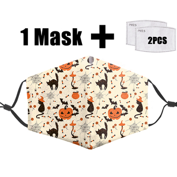 Halloween Pumpkin Facemask Flower Washable Mask Anti Dust Windproof Mouth Cover Anti Flu Mouth Mask Prevent Infection Respirator