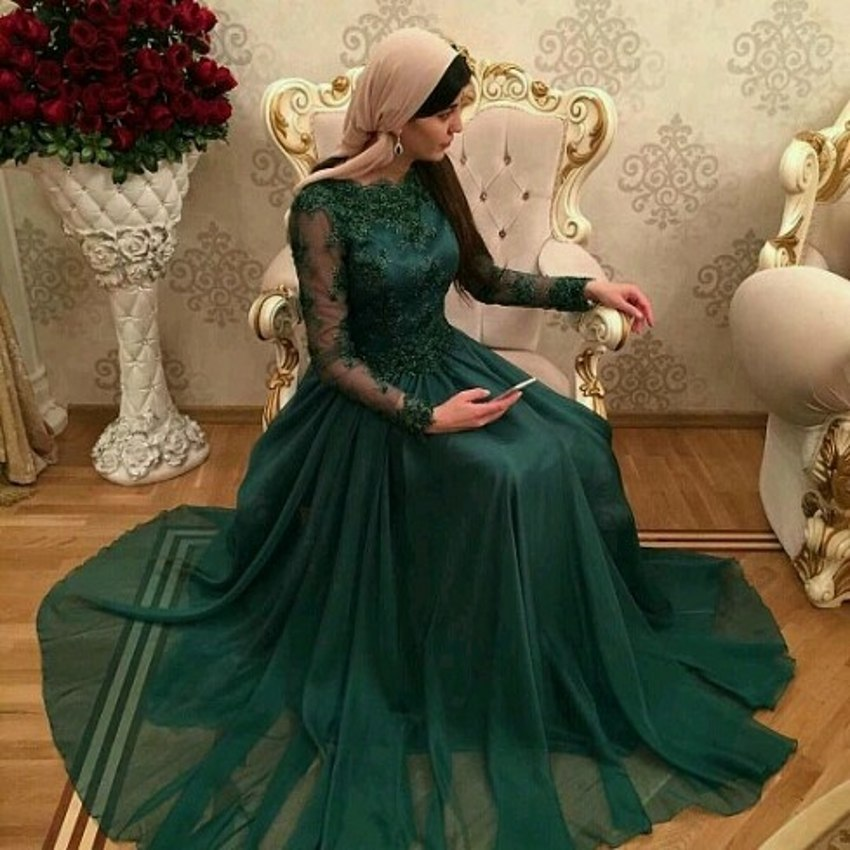 Vestidos De Festa 2018 Dubai Dark Green Muslim Evening Gown Long Sleeves Lace Appliques Formal Mother Of The Bride Dresses