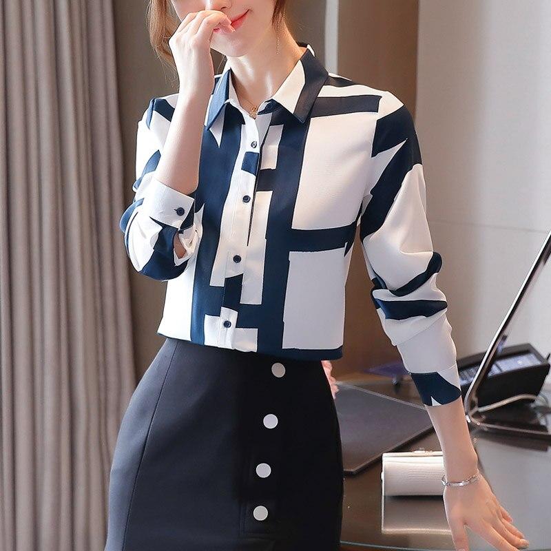 Fashion Office Lady Cardigan Print Blouses Chiffon Shirts Women Korean Loose Long Sleeve Shirts 2021 Autumn Women Blusas 10789 4