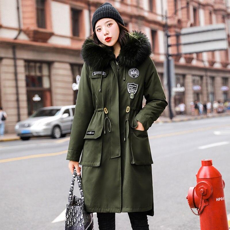 Long Military Fur   Coat   Lamb Wool Lining Hooded Winter   Down     Coat   Women Oversize Jacket Cotton Padded Wadded Parkas Big Pocket