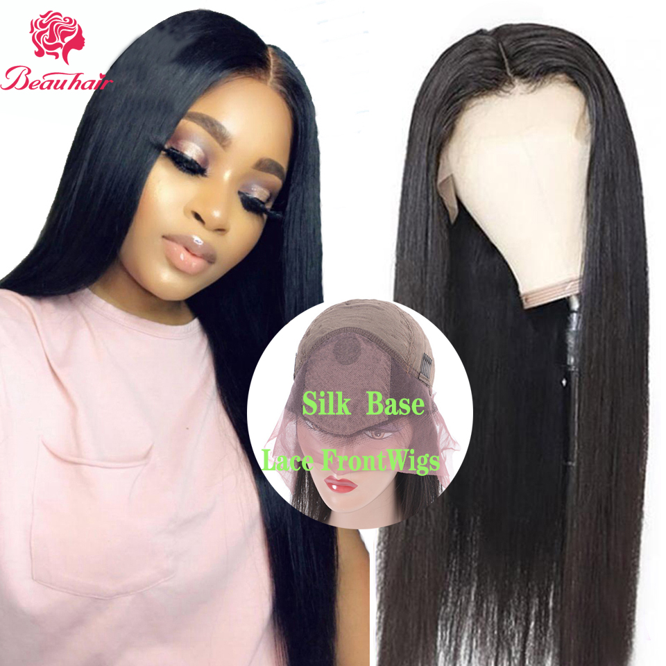 Silk Base Wigs Brazilian Human Hair Straight Lace Front Human Hair Wigs Fake Scalp Wig Pre Plucked For Black White  Women Remy