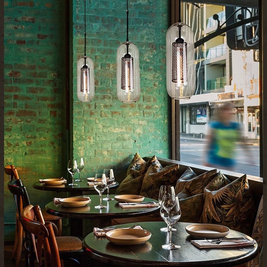 Скандинавские светодиодные стеклянные подвесные лампы, американский Лофт, промышленный кухонный обеденный бар, подвесные светильники для