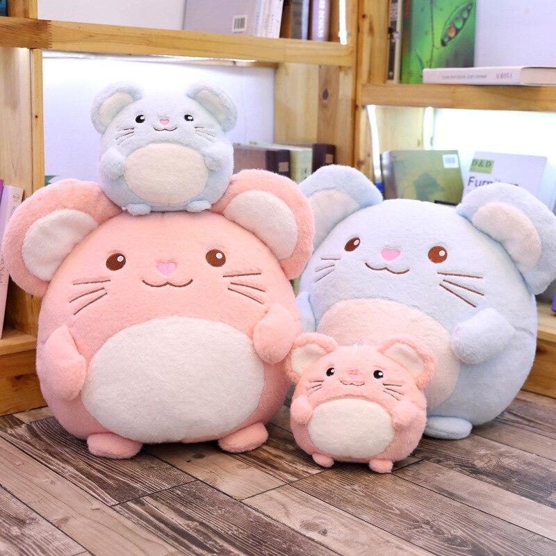18/30cm Fat Mouse Plush Toys For Children Kids Gifts Kawaii Cotton Stuffed Animal Doll Pink Blue Chinchilla Plush Toys Dolls
