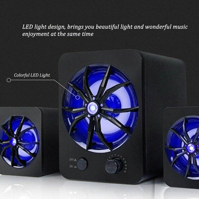 Проводная Колонка со светодиодсветодиодный подсветкой, цветной стерео проигрыватель с басами, сабвуфер, компьютерные колонки, освещение для создания атмосферы, для ноутбуков и ПК