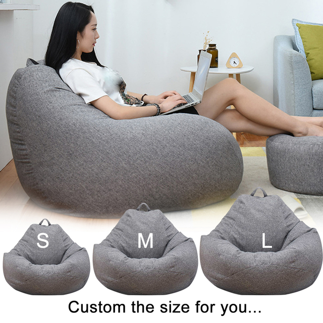 Washable Cotton Linen Bean Bag Chair with Filling r 6