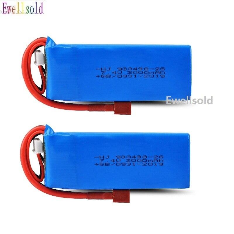 Ewellsold 1-2pc WLtoys 1/14 144001 7.4V 3000mAh Lipo Battery T Plug RC Car Upgrade Parts