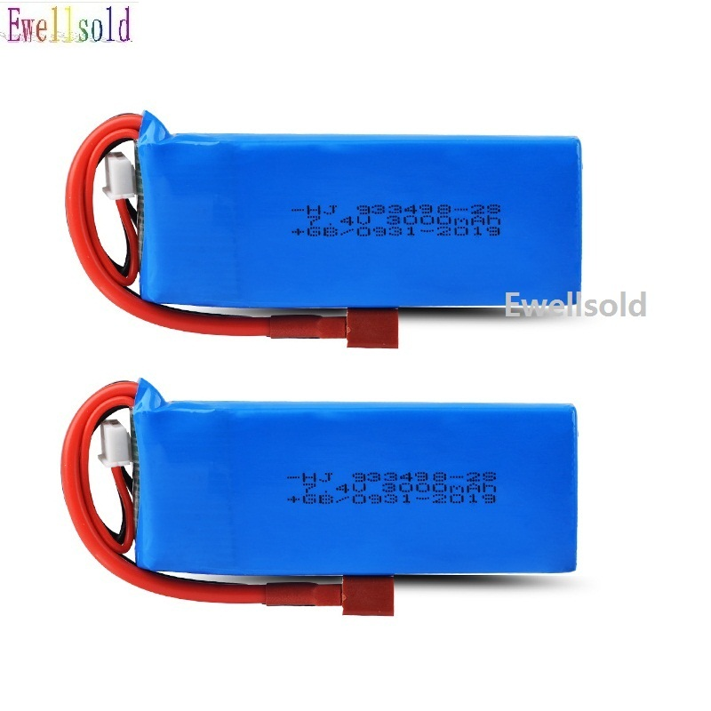 Ewellsold 1-2pc WLtoys 1/14 144001 <font><b>7.4V</b></font> <font><b>3000mAh</b></font> <font><b>Lipo</b></font> <font><b>Battery</b></font> T Plug RC Car Upgrade Parts image