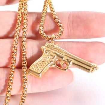 Nueva cadena UZI dije para collar de arma para hombres mujeres Hip Hop joyería oro plata Color acero inoxidable estilo militar collares masculinos