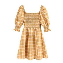 2020 dulce moda a cuadros elástico pecho Mini vestido Vintage cuadrado cuello manga corta Vestidos Casual niñas Vestidos