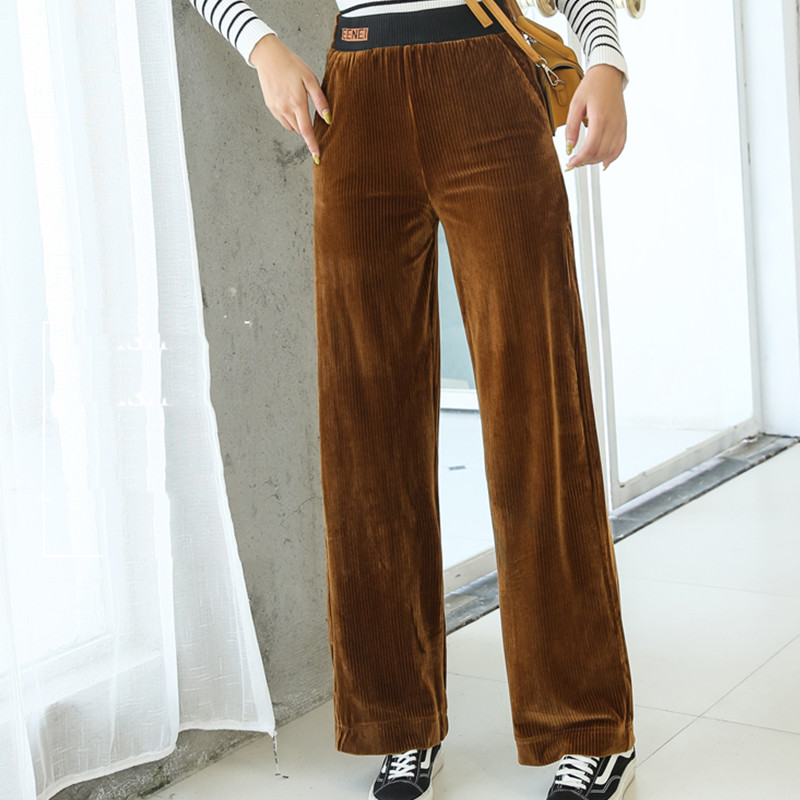 Autumn Corduroy   Pants   Women Plus Size Elastic High Waist Black Khaki   Wide     Leg     Pants   5xl 6xl