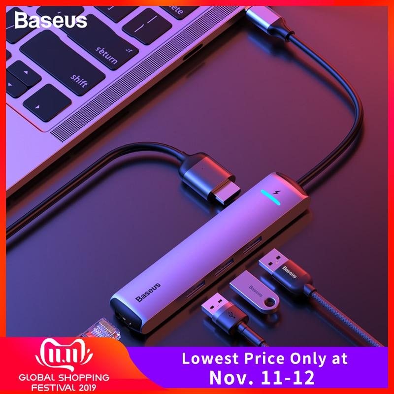 Baseus USB C HUB Type C To HDMI RJ45 Ethernet Multi Ports USB 3.0 USB3.0 PD Power Adapter For MacBook Pro Air Dock USB-C HUB HAB