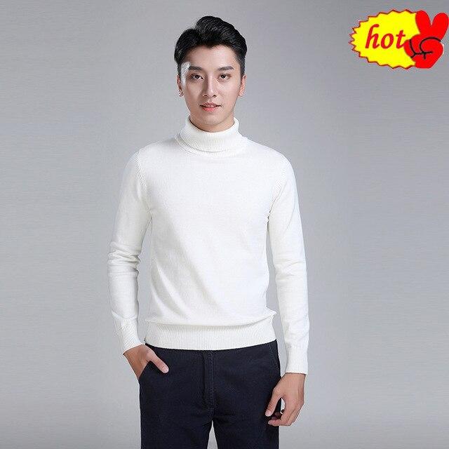 Hommes pull col montant haute qualité coton tricoté Turtlenck hommes pull automne hiver col roulé hommes pull