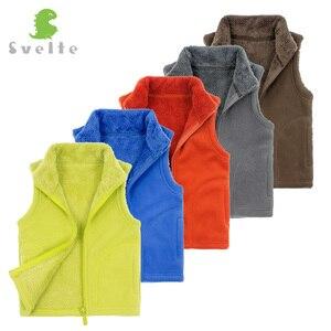 Image 4 - SVELTE/осенне зимняя меховая подкладка для мальчиков и девочек, флисовый жилет, однотонный жилет унисекс на молнии яркого цвета, детский меховой жилет