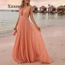 Платье женское длинное оранжевое с глубоким v образным вырезом