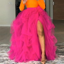 Hot Pink Long Tutu Skirt Slit Custom made fadas jupe femme Women Skirts Tulle With Decoration