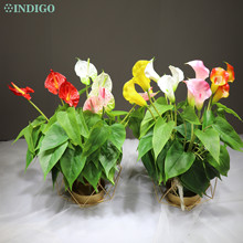 INDIGO Calla Bouquet 3Pcs Calla 18PcsใบรากCallaสัมผัสจริงกลางแจ้งประดิษฐ์กันน้ำดอกไม้ขายส่ง