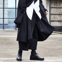 Men Japan Streetwear Hip Hop Punk Gothic Black Harem Pant Male Fashion Splice Loose  Wide Leg Skirt Trouser Kimono