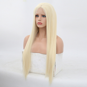 Image 4 - High Temperature Hair Lace Wig Long Silky Straight Wigs for Women Blonde Synthetic Lace Front Wig Middle Part Blonded Wigs