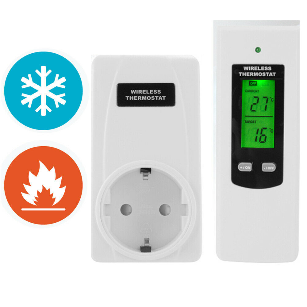 Wireless Thermostat RF Plug Digital Infrared Heating Temperature Sensor Controller TN88