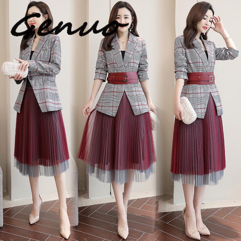 Genuo New 2019 Fashion Plaid Blazer With Mesh Pleated Skirt Suit Set Ladies Formal Blazer Skirt Set Jacket Skirt Suits Women