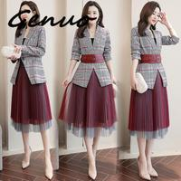 Genuo New 2019 Fashion Plaid Blazer With Mesh Pleated Skirt Suit Set Ladies Formal Blazer Skirt Set Jacket Skirt Suits Women