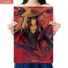 Retro-Poster Kraft-Paper Naruto Cafe Decor Anime Home-Bar Cartoon Painting Pocket 51x35.5cm