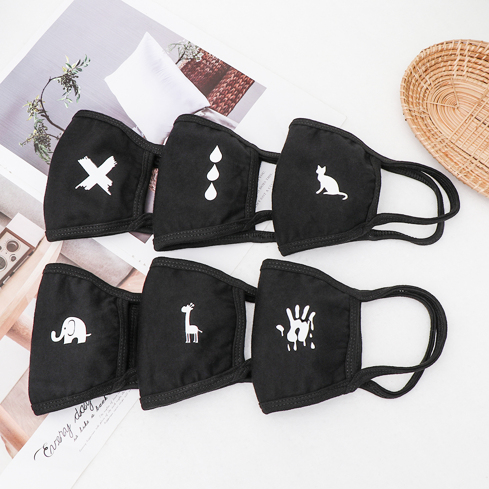 Unisex Cotton Cartoon Pattern  Warm Thickening Half Face Mouth Mask Anti-Dust Anti-Bacterial Respirator Classic Black White Mask