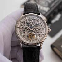 Top Marke Luxus Tourbillon Volle Skeleton Herren Mechanische Uhren Original Krokodil Echtem Leder Männer Armbanduhren Hohl