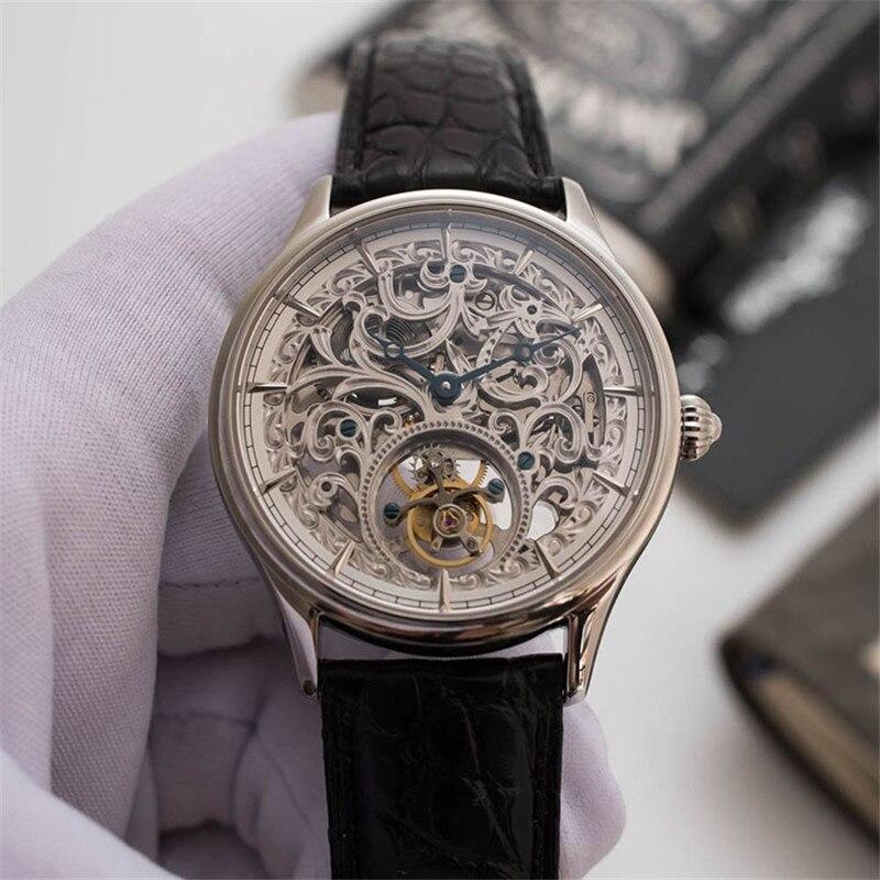 Top marque de luxe Tourbillon plein squelette hommes montres mécaniques Original Crocodile en cuir véritable hommes montres creux