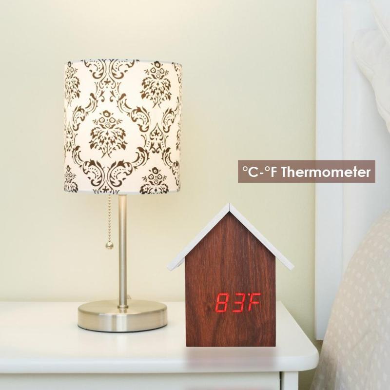 Multifunctional Intelligent Electronic Alarm Clock LED Sound Control Wood Grain USB Alarm Clock Calendar Temperature Tester