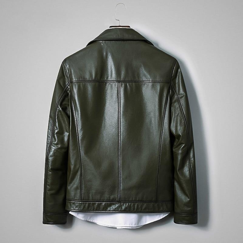 Genuine Leather Jacket Men Spring Autumn Cowhide Coat Short Dark Green Mens Leather Jackets Korean Deri Mont KJ2726