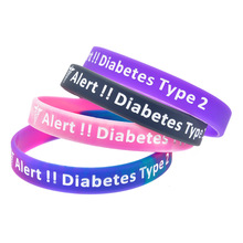 1 pcs hot sale Type 2 Diabetes silicone bracelet medical warning language wristband sports factory price