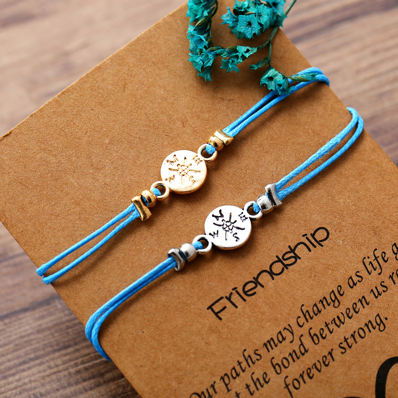 Guvivi Handmade Rope Bracelet Women Men Adjustable String Heart Love Charm Bracelet Homme Bestfriend Jewely