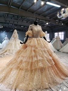 Image 3 - 2020 חדש נפוח קצר שרוולים o צוואר 4 שכבות חצאית וגרם זהב נצנצים כלה שמלת קפלת רכבת